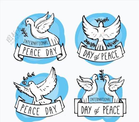 国际和平日白鸽标签图片