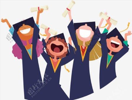 毕业季欢呼的孩子图片
