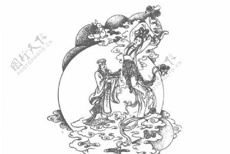 吴刚嫦娥线条图图片