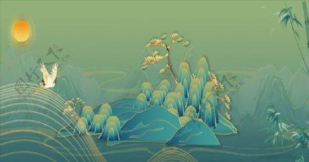 新中式山水鎏金仙鹤背景图片