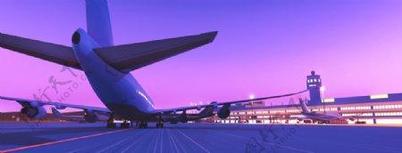 飞机夜景灯光机场背景图片