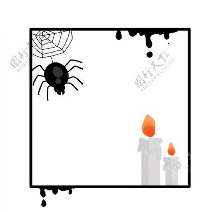 万圣节蜘蛛蜡烛边框图片