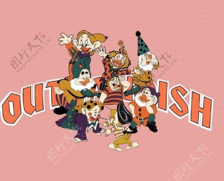 小丑字母服装印花图案图片