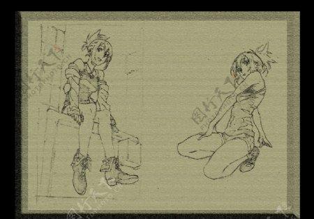 CG素描卡通背景图片