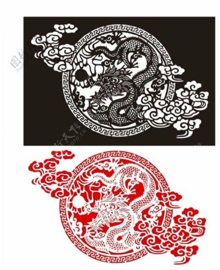 传统龙纹元素手绘图片