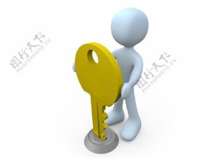 3D钥匙小人图片