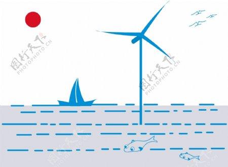 风车帆船图片