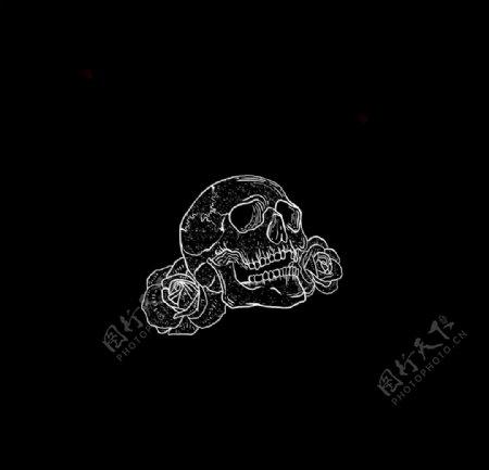 白色骷髅插画黑色背景图片