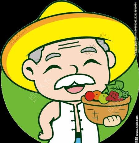 卡通老农民伯伯果农形像图片