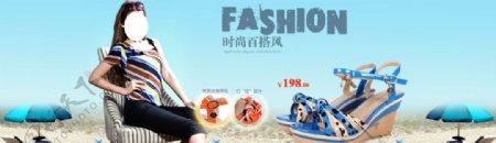 时尚百搭风女凉鞋宣传促销图图片
