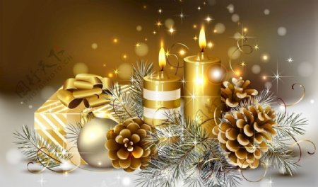 圣诞节素材背景蜡烛图片