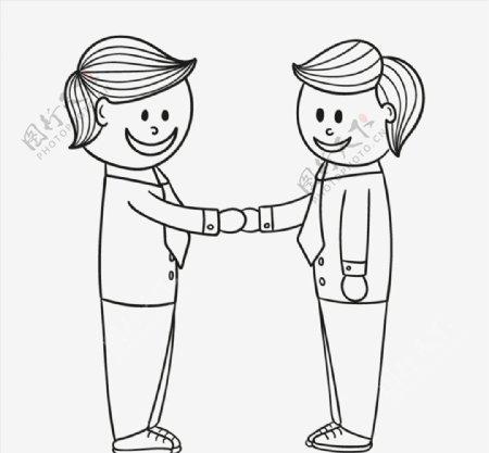 手绘握手的商务男图片