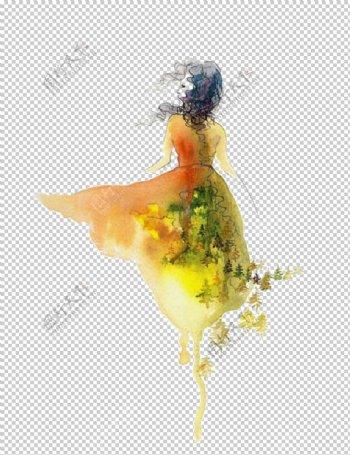 彩绘人物背影图片