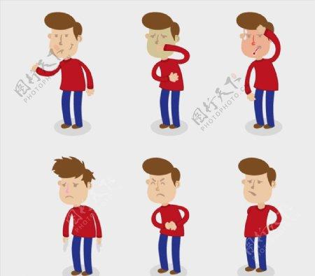 生病的红衣男子图片