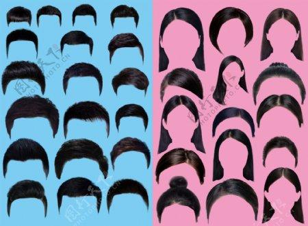 证件照素材男女士头发图片
