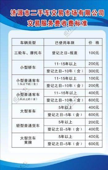 二手车交易服务收费标准图片