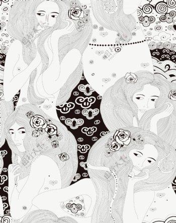 黑白线条女人图片
