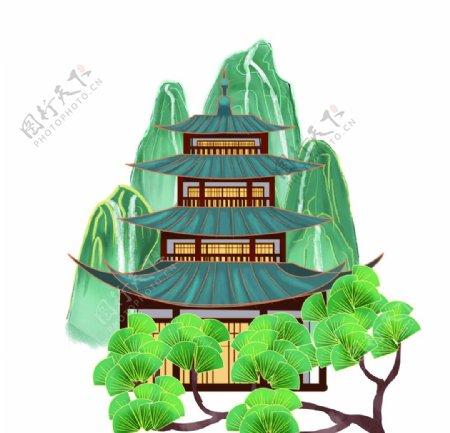 国潮亭台楼阁松树图片