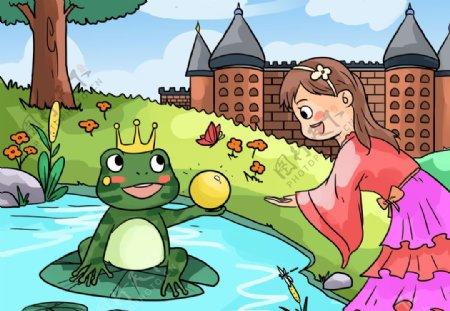 青蛙王子封面插画卡通背景素材图片