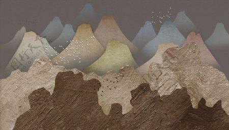 油画鸽子高山背景墙图片