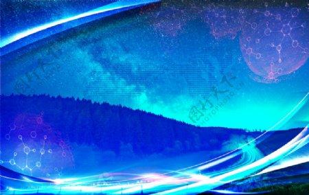蓝色星空山路图片