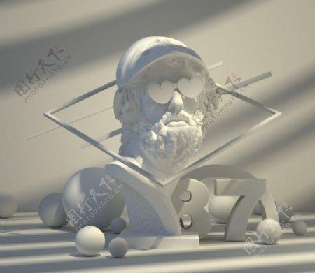 C4D石膏人像模型图片
