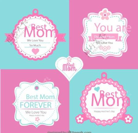 母亲节标签矢量图片
