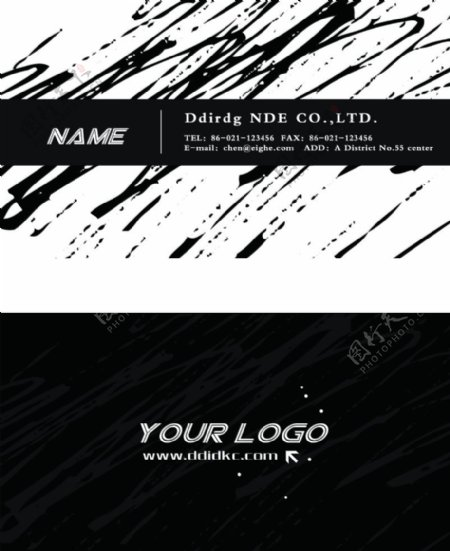 黑白涂鸦时尚名片图片