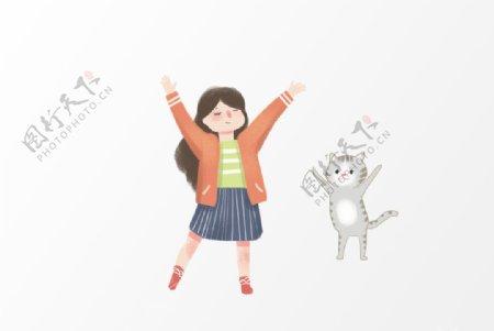 卡通女孩猫咪插画设计图片
