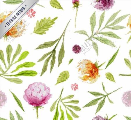 水彩花草背景图片