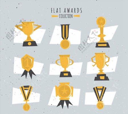 扁平化奖杯与奖牌图片