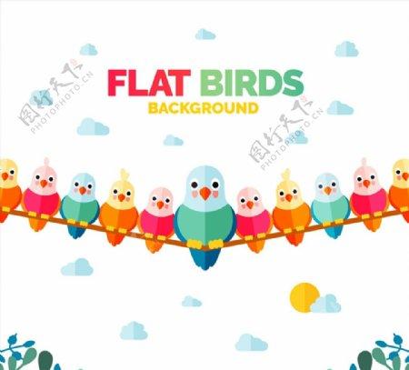 电线上的一排小鸟图片