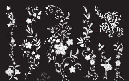 绣花黑白花图片