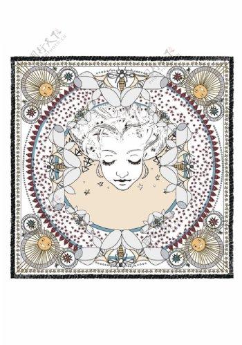 女人方巾图片