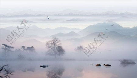 水墨画飞鸟小船背景墙图片