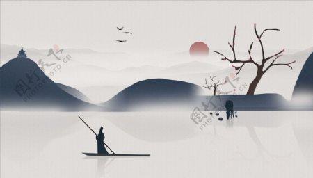 水墨画小船树太阳背景墙图片