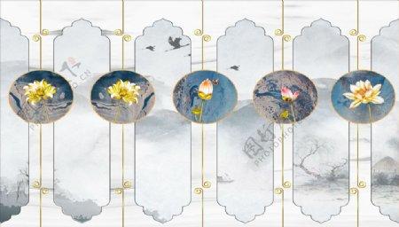 水墨画荷花蝴蝶背景墙图片