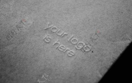 灰色纸张LOGO样机图片