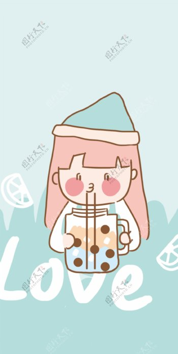卡通女孩喝奶茶图片