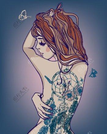 纹身美女图片