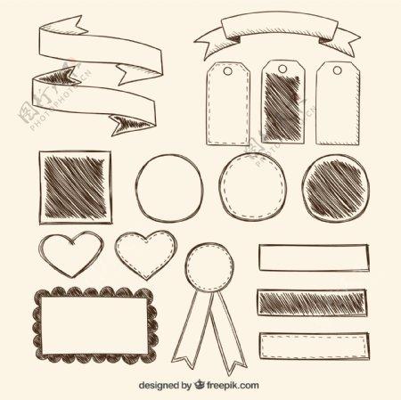 空白丝带与标签图片