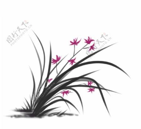 水墨中国画兰花图片