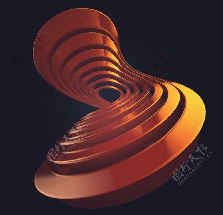 C4D模型橘红色的抽象图形图片