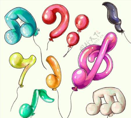 彩绘音符气球图片