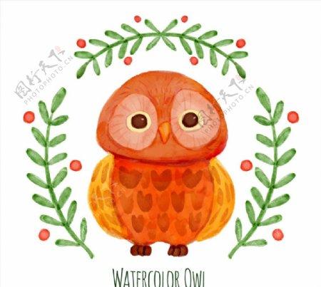 水彩橙色猫头鹰图片