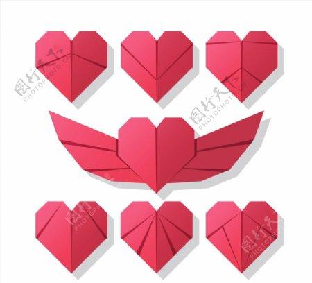 红色折纸爱心图片