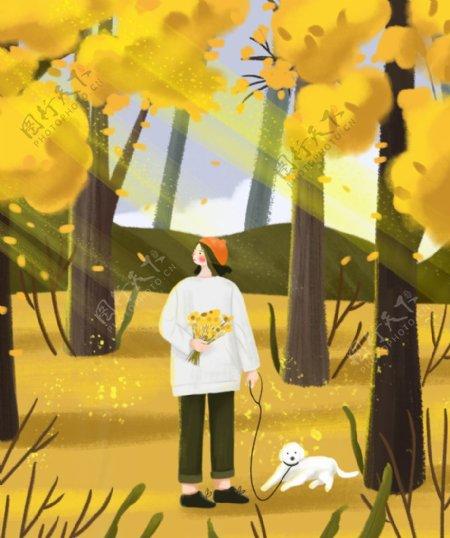 树林里女孩和小狗插画图片