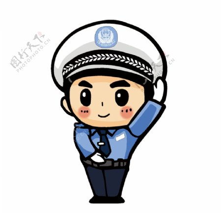 举手的卡通警察图片