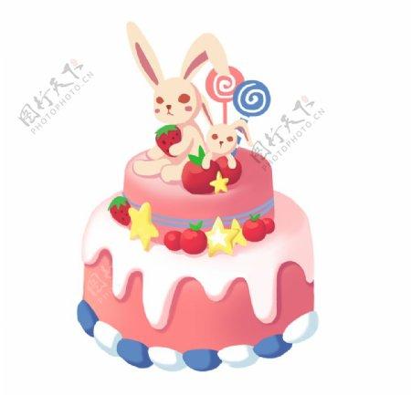 兔子蛋糕插画图片