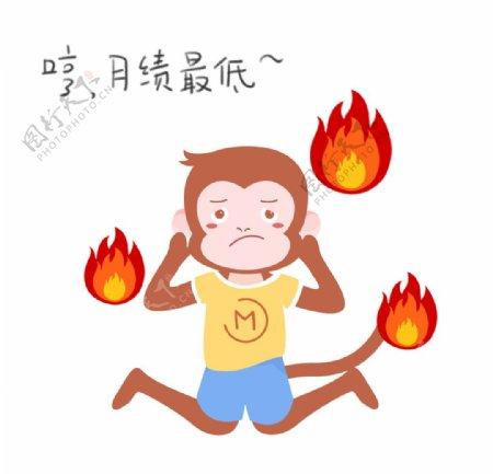生气上火的猴子插画图片